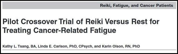 Pilot crossover trial reiki versus rest